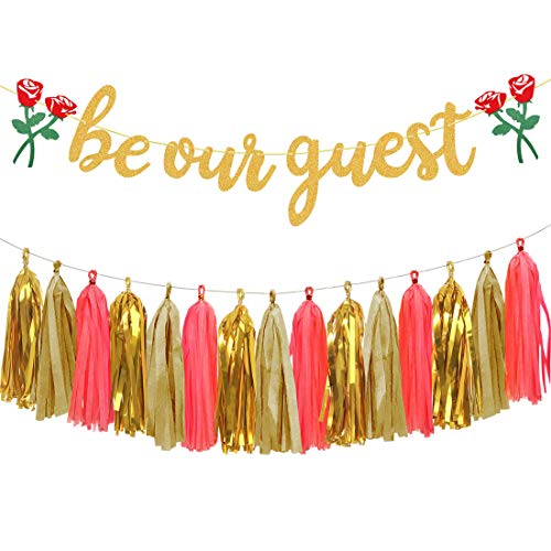 Aonor Be Our Guest with Roses Banner and Tissue Paper Tassels Garland for Bridal Shower, Wedding, Beauty and The Beast Themed Party Decorations