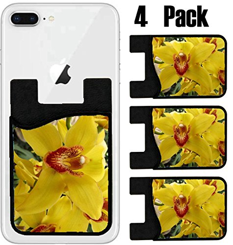 MSD Phone Card holder, sleeve/wallet for iPhone Samsung Android and all smartphones with removable microfiber screen cleaner Silicone card Caddy(4 Pack) IMAGE ID 27352084 Garden exotic yellow orchid g by MSD