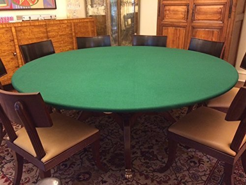 green Felt Poker Table Cover - Green fitted Tablecloth - For Round 48 Inch Table - Patio Table - With Elastic (Round Poly Table Covers)