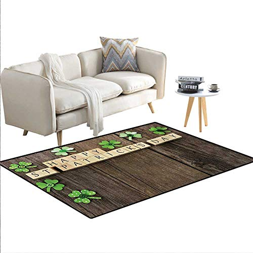 Carpet,Greetings with Wooden Blocks and Paper Shamrocks on Rustic Planks Image,Indoor Outdoor Rug,Umber Beige,55