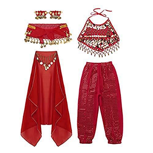 moily Kids Girls Arabian Princess Costume Sequins Belly Dance Outfit Halter Top Harem Pants 5 Pcs Set Red 4-5 -