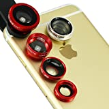 First2savvv JTSJ-5N1-08 red mobile phone Universal 5 in 1 Clip Camera professional glass Lens Kit (fish eye, wide angle, macro, barlow and polarizer lens) for Samsung Galaxy S4 Active GT I9295 Galaxy S4 Zoom SM-C101 Galaxy Young with LENS Cleaning Cloth