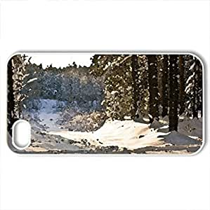 Beautiful winter morning - Case Cover for iPhone 4 and 4s (Winter Series, Watercolor style, White)