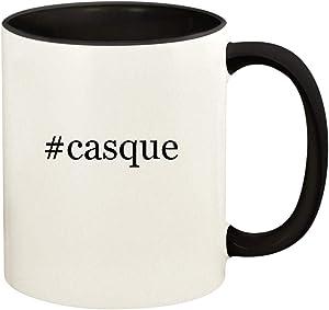 #casque - 11oz Hashtag Ceramic Colored Handle and Inside Coffee Mug Cup, Black