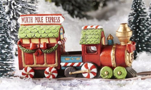1 ^^ ^Miniature FAIRY GARDEN ~ North Pole CHRISTMAS Express Train with LED Light ~ NEW