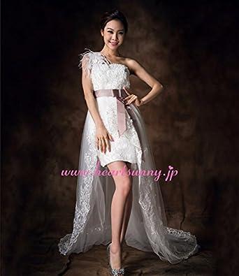 (HeartSunny) サイズオーダーメイドウェディングドレス ミニ丈 E298 花飾りワンショルダー パープル