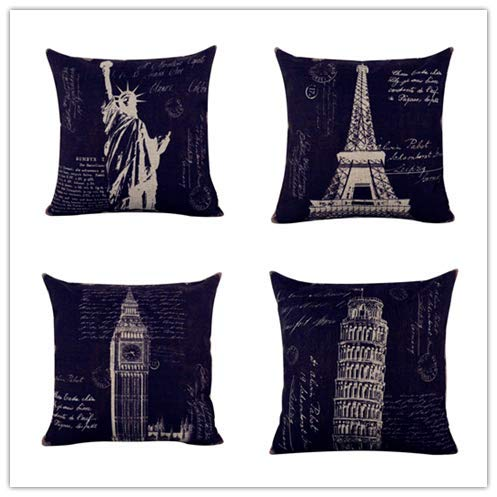 Acelive 16 x 16 Inches Retro Paris Eiffel Tower London Big Ben New York Statue of Liberty Italy The Leaning Tower Burlap Cushion Covers Pillow Case for Sofa Car (4PCS)