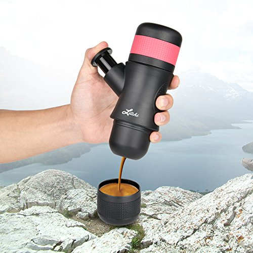 Litchi Portable Espresso Machine 80ML Hand Held Coffee Maker for Camping Hiking, Black