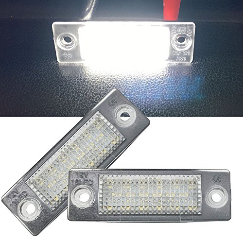 Led License Number Plate Lights - NSLUMO Tail Parking Lamp Set LED Bulbs 18-SMD High Power Lights for Volkswagen Golf Passat Touran Jett (VW Caddy Jetta, Skoda Superb I 02~08)