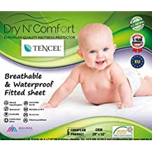 TENCEL® ORGANIC BABY CRIB WATERPROOF MATTRESS PROTECTOR PAD COVER size 28'' x 52'' - Dry N Comfort - European Premium Quality Super Soft Hypoallergenic White Fitted Sheet - Vinyl Free - 5 Years Warranty - Money Back Guarantee!