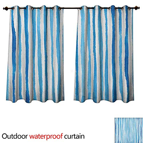 Anshesix Harbour Stripe Home Patio Outdoor Curtain Watercolor Stripes Paintbrush Color Bands Nautical Cottage Design W120 x L72(305cm x 183cm)