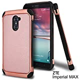 zte imperial ii trident - ZTE Imperial Max Case, ZTE Grand X Max 2 Case, ZTE Kirk Case, ZTE Max Duo LTE Case, Celljoy [Deluxe Shock Armor] [[Shockproof]] HybridImpact Resistant Premium Elegant - Thin Hard Cover (Rose Gold)