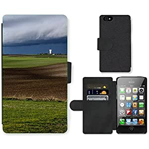PU Cuir Flip Etui Portefeuille Coque Case Cover véritable Leather Housse Couvrir Couverture Fermeture Magnetique Silicone Support Carte Slots Protection Shell // F00003040 paysage campagne // Apple iPhone 4 4S 4G