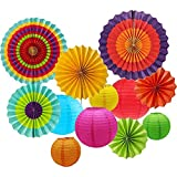 Sonnis Hanging Fiesta Paper Fan Lanterns Decoration, Mexican Fiesta/Carnival/Kids Party/Birthday/Christmas Decor,Party/Events Decor, Home Decor Supplies Flavor (Multicolor-01)