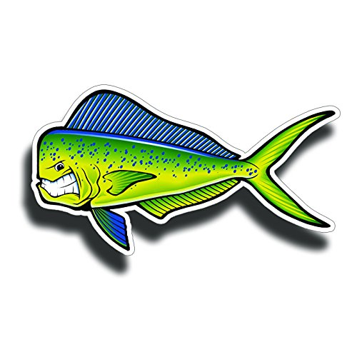 Angry Mahi Dolphin Fish Car Motorcycle Truck Boat Laptop Cup Vinyl Sticker Decals Bumper Stickers
