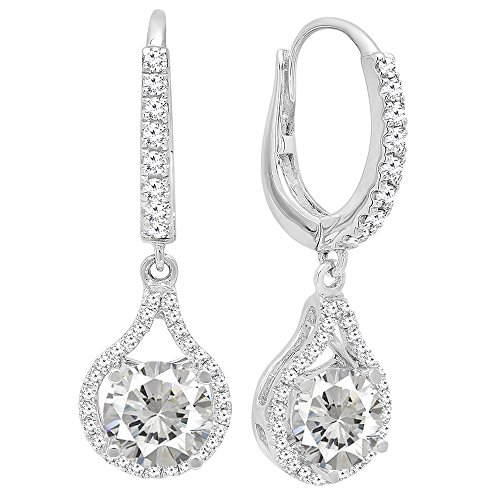 Dazzlingrock Collection 14K 5.5 MM Each Round Cut White Sapphire & White Diamond Ladies Dangling Drop Earrings, White Gold