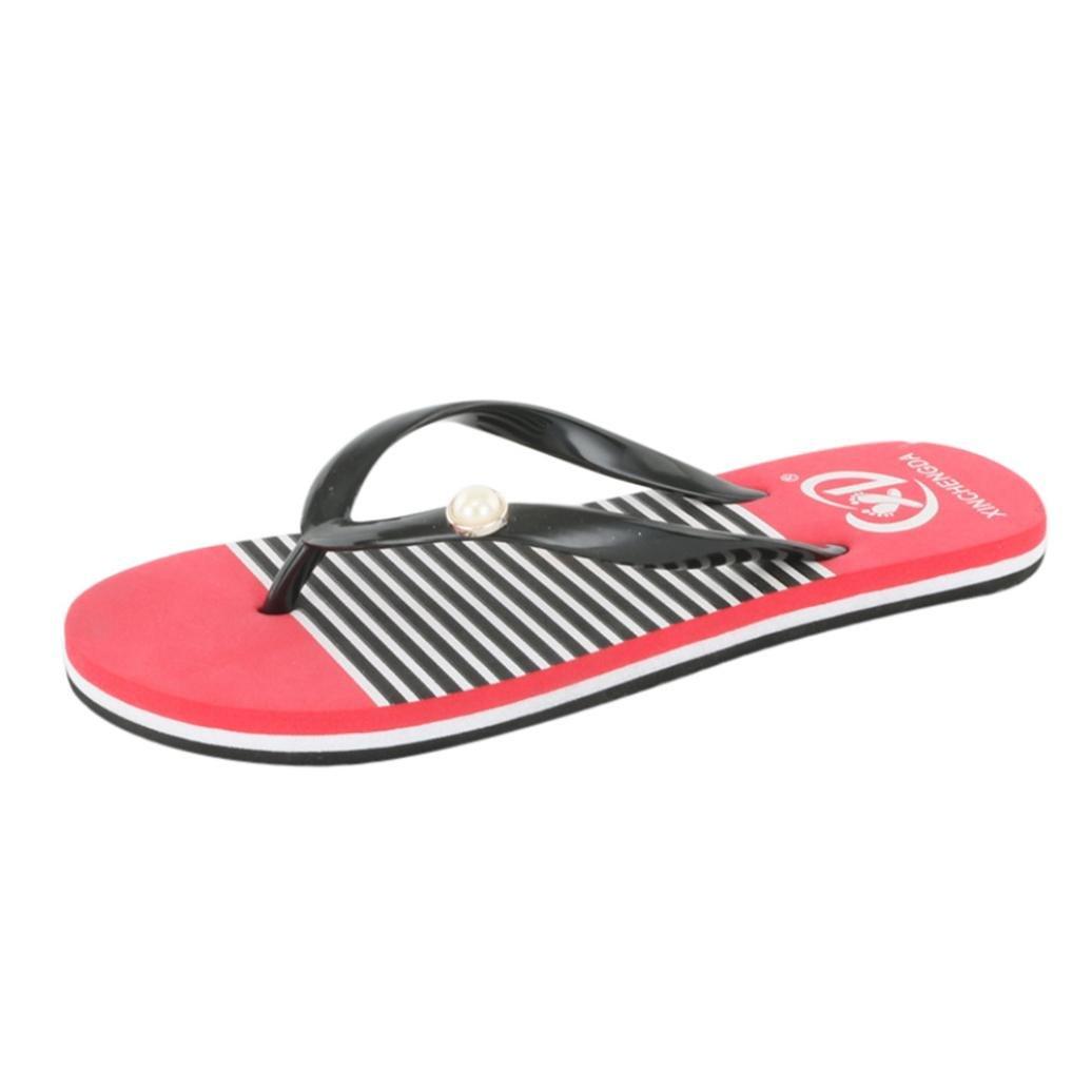 Flip Flops Women,Internet Sandalen Damen Flach Damen-Mauml;dchen-Herren Flip Flop Summer Beach Pool Schuhe Sandalen Zehentrenner Rutschfest und Weich  38 EU|Rot