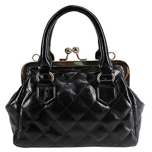 Aisa Women PU Leather Handbag Kiss Lock Shoulder Bag Shell Tote Domed Top Handle Clutch Satchel Purse