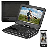 "UEME Portable DVD Player CD Player with 10.1"" LCD Screen/ Remote Control/ Wall Charger Car Charger/ Canvas Headrest Mount Holder, Personal DVD Player with Built-in Rechargeable Battery PD-1020 (Black)"