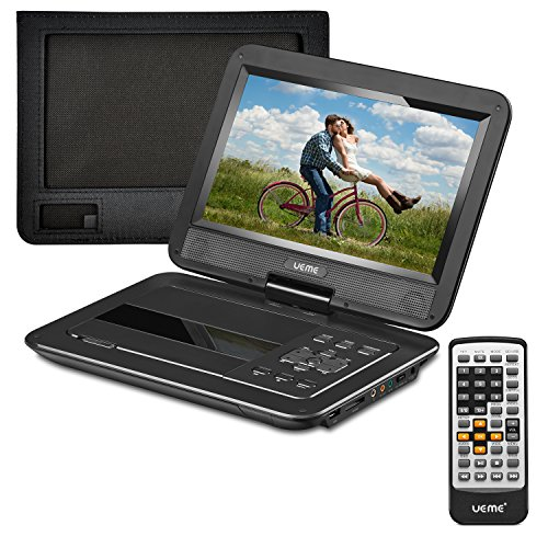 UEME 12.5 inches Portable DVD Player with 10.1 inches HD Swivel Screen, Car Headrest Mount Holder, Remote Control, Personal DVD Player with Built-in Rechargeable Battery (Black)