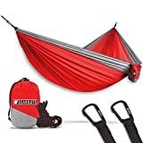 Bear Butt Lightweight Double Camping Parachute Hammock, Portable Two-Person Hammocks for Hiking & Backpacking (Red/Gray)