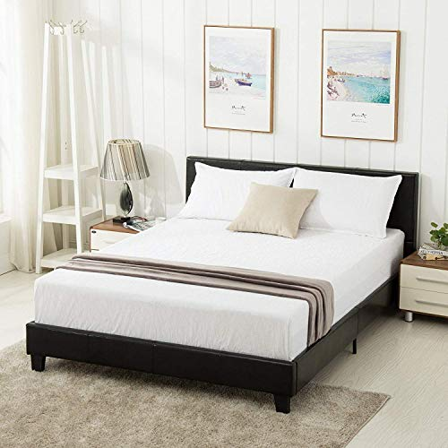 Mecor Faux Leather Bonded Platform Bed Frame Upholstered Panel Bed Queen Size,No Box Spring Needed,for Adults Teens (Leather Panel Complete Bed)
