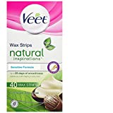 Wax Hair Removal Last - Veet Natural Inspirations, Hair Removal, Precision Wax Strips with Shea Butter, Sensitive, Legs & Body, 40 Count
