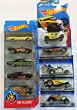 """10 Hot Wheels """"FLAMES """" Vehicles Bundle #8 : HW FLAMES 5-Pack & Baby Boomer, 33 Ford Roadster ,59 Impala, Forza Bone Shaker & Super Comp Dragster"""