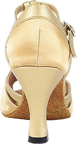 Scarpe Donna Ballo Tango Scarpe Salsa Di Nozze 2707ebb Confortevole-molto Fine 3 [fascio Di 5] Raso Marrone Chiaro Con Finiture In Oro Chiaro