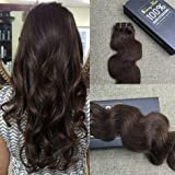 Sunny Remy Clip in Hair Extensions Double Weft 18inch Dark Brown #4 7pcs 120g/Set Body Wave Clip Ins Full Head Human Hair Extensions Real Hair
