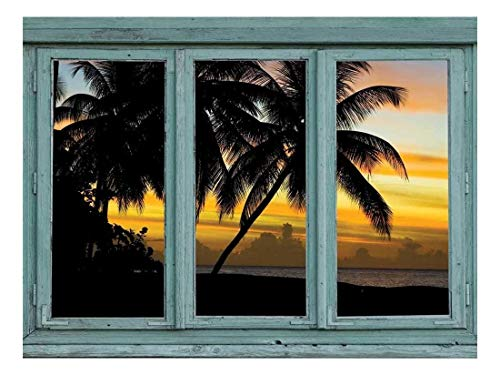 (wall26 - Magic Hour Sunset on Tropical Beach in Silhouette - Clouds and Painted Sky in Pastels - Wall Mural, Removable Sticker, Home Decor - 24x32 inches)