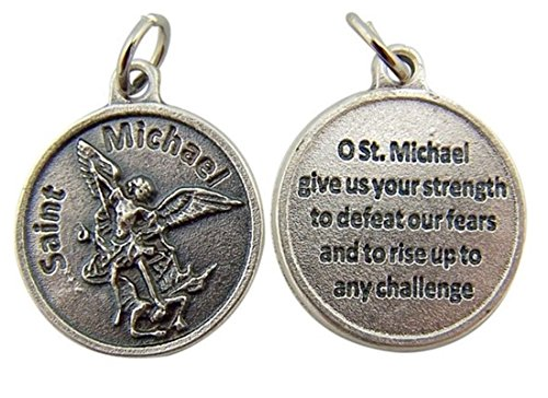 Saint Michael Medal Necklace (Archangel Saint St Michael with Prayer Protection Medal Pendant, 3/4 Inch)