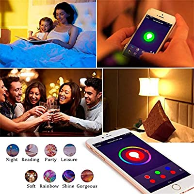 WiFi Smart LED Bulb APP Voice Remote Control Bulb Supports for Alexa/Google Home No Hub Required,7W, B22/E27 Base