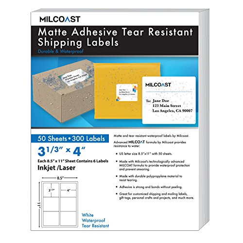Milcoast Matte Adhesive Tear Resistant Waterproof Shipping Labels - for Inkjet/Laser Printers, Size 3-1/3 x 4