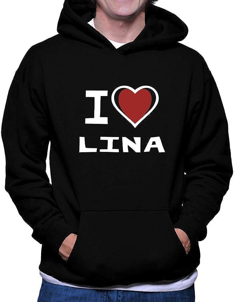 Teeburon I Love Lina Bicolor Heart Hoodie