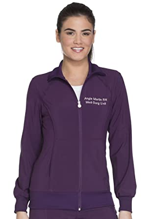 3d813766d06 Embroidered Cherokee Women's Infinity Zip Front Warm-up Jacket (Style  2391A, Eggplant,