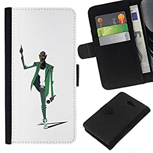 All Phone Most Case / Oferta Especial Cáscara Funda de cuero Monedero Cubierta de proteccion Caso / Wallet Case for Sony Xperia M2 // Man Music Microphone Singer Art Drawing