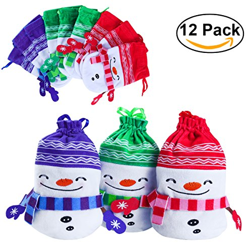 PBPBOX 12PCS 3 Colors Snowman Christmas Goodie Bags with Drawstring Holiday Party Favor Bags (Small Floral Gift Bag)
