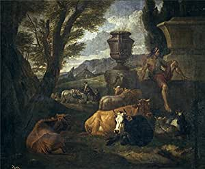 The polyster Canvas of oil painting 'Bloemen Peeter van Paisaje romano (el Campo Vacino de Roma) 1704 ' ,size: 16 x 19 inch / 41 x 49 cm ,this Amazing Art Decorative Prints on Canvas is fit for Bar artwork and Home decor and Gifts