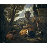The high quality polyster Canvas of oil painting 'Bloemen Peeter van Paisaje romano (el Campo Vacino de Roma) 1704 ' ,size: 20 x 24 inch / 51 x 62 cm ,this Best Price Art Decorative Canvas Prints is fit for Garage gallery art and Home decor and Gifts