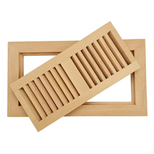 Homewell Maple Wood Floor Register Vent, Flush Mount With Frame, 4x10 Inch, (Maple Louvered Register)