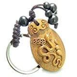 Amulet Sandal Wood Snake Cobra with Lucky Coins Feng Shui Powers Keychain