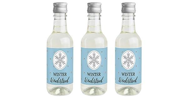 Pegatinas para botella de vino y champán de invierno de Wonderland, diseño de copo de nieve, ideal como regalo de Navidad o de boda, 16 unidades: Amazon.es: Hogar