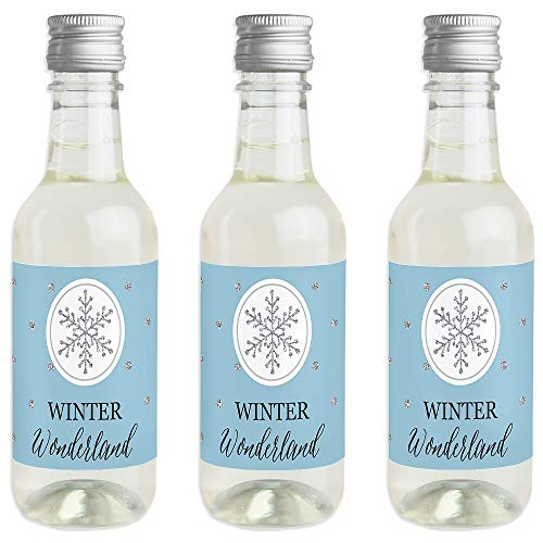 (Winter Wonderland - Mini Wine and Champagne Bottle Label Stickers - Snowflake Holiday Party & Winter Wedding Party Favor Gift for Women and Men - Set of 16)