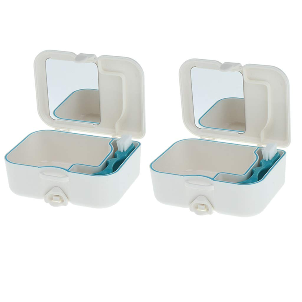 CUTICATE Pack of 2pieces, Orthodonti Retainer Case, Denture Brush Retainer Case with Bulid in Mirror, Denture Bath Box for Cleaning, Store, Retrieve