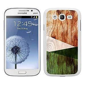 Funda carcasa TPU (Gel) para Samsung Galaxy Grand diseño efecto madera color verde borde blanco