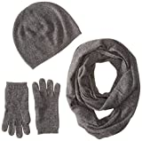 Sofia Cashmere Women's Gift Box Set - Hat, Smartphone Gloves, and Infinity Scarf, derby grey, ONE