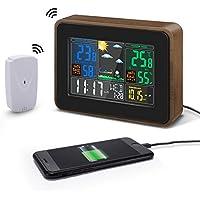 DIGOO 8878 Grain de bois USB Port de charge Sortie Version Station Météo Sans Fil Affichage Couleur Numérique USB Extérieure Air Pression Hygromètre Humidité Thermomètre Température avec Horloge