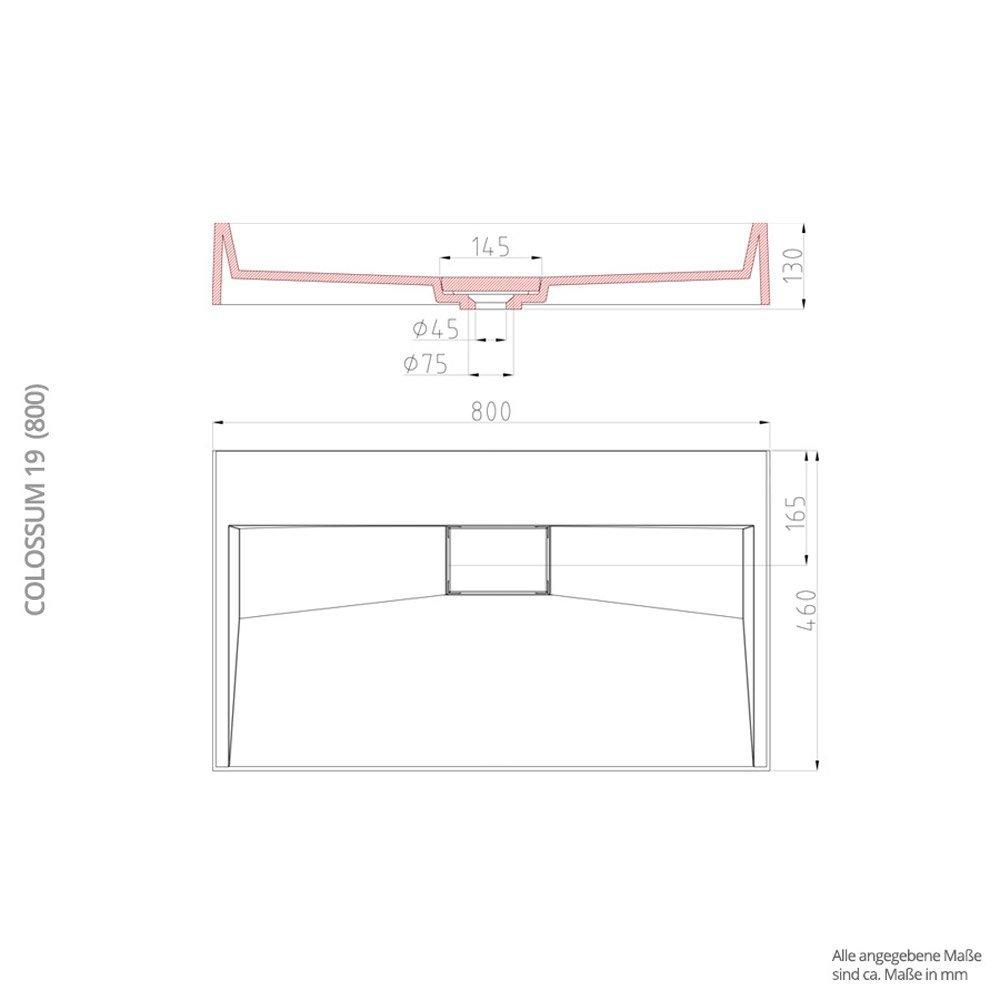 Waschbecken Col19 Aufsatz-Waschbecken Hänge-Waschtisch Hänge-Waschtisch Hänge-Waschtisch Gussmarmor Rechteckig Waschplatz 1 Armaturenloch Breite  70cm f32701