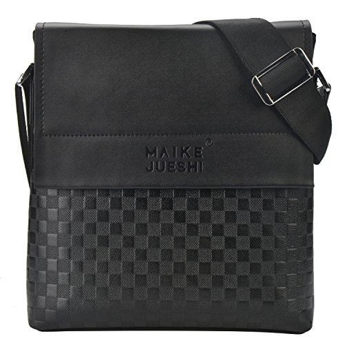 Dayiss: bolso bandolera para hombre, piel sintética, color negro